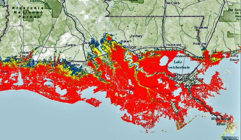 Maximum storm surge from the worst-case Category 3 hurricane, as predicted by NOAA.
