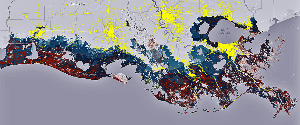 How the coast will look in 50 years without any action: The blue areas on the map show coastal inundation during a storm, the red areas show land loss - and the small spots of green show land gain. The yellow areas are population centers.