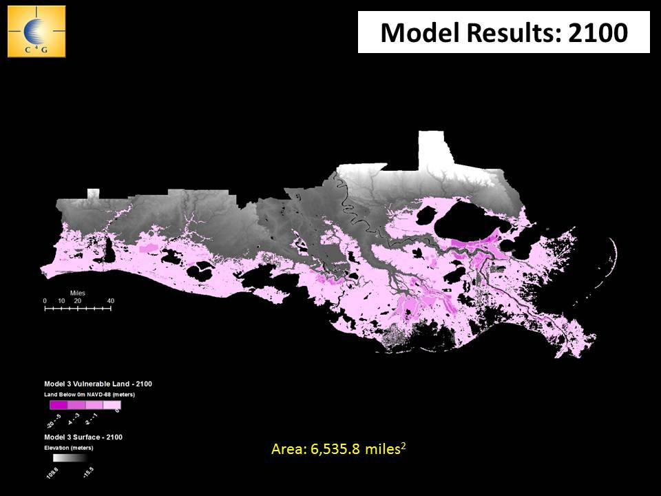 In 2014 the LSU Center for Geoinformatics projected this much of south Louisiana would be at or below sea level by 2100, greatly increasing the region's vulnerability to flooding from higher tides and storm surges. However, those projections were based on data compiled in 2004. More recent studies of subsidence could place some areas in greater danger.