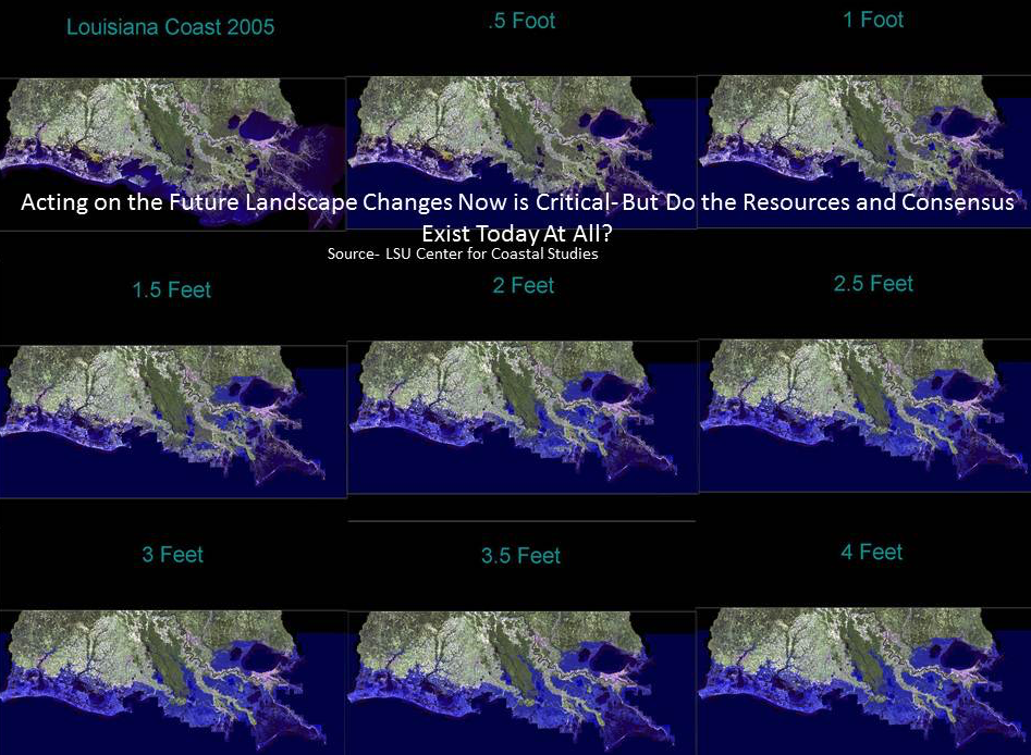 The LSU Center for Coastal Studies produced this series of maps showing the gradual inundation of most of southeast Louisiana by 2100 based on current and projected rates of sea level rise and subsidence.