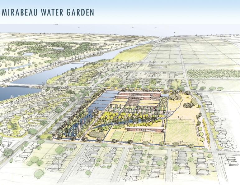 Architects of the Mirabeau Water Garden project said green spaces and playing fields will be part of the design at the 25-acre site leased to the city by the Congregation of St. Joseph for $1 per year over the next 100 years.