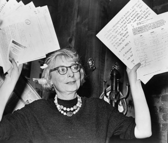 Jane Jacobs, shown here in 1961 during her fight to save New York City's West Village from the wrecking ball, encuraged a grassroots approach to city planning that revolutionized the field. This year is the centennial of her birth.