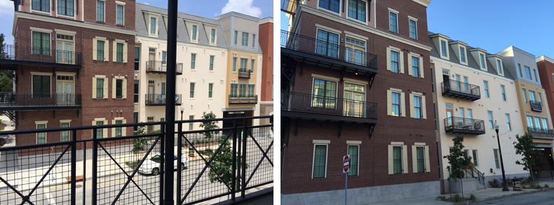 The photo on the left shows the view from the balcony of an apartment offered for rent on Airbnb. The photo on the right shows the view from the sidewalk, inside the Bienville Basin development.