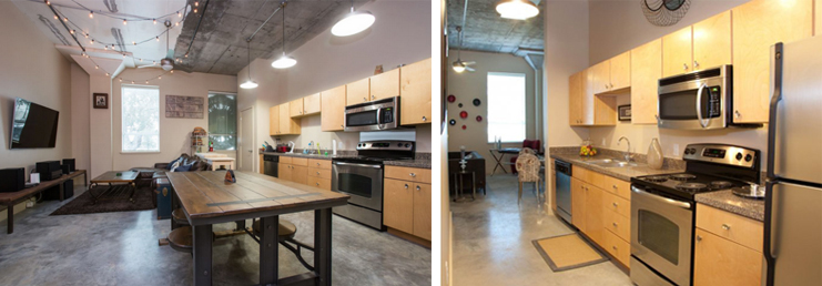 The photo on the left was included in an Airbnb listing in Gert Town. The photo on the right is from the Blue Plate Artist Lofts website.