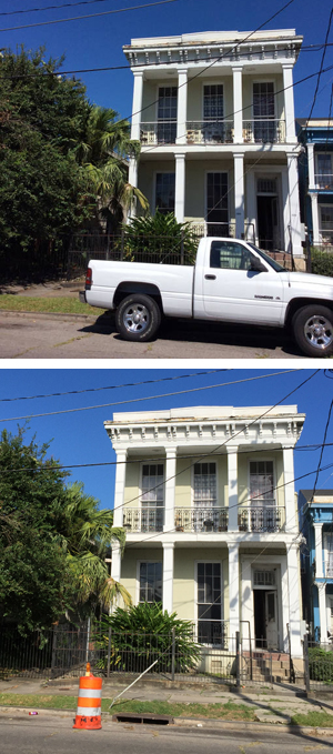An Airbnb host posted the top photo in offering his apartment for $127 a night. The bottom shows the house, located at 1839 Carondelet St. It received city funding for affordable housing.