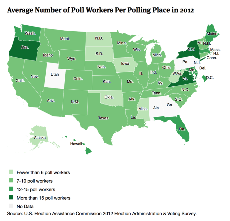Average Number of Poll Workers Per Polling Place in 2012-U.S. map