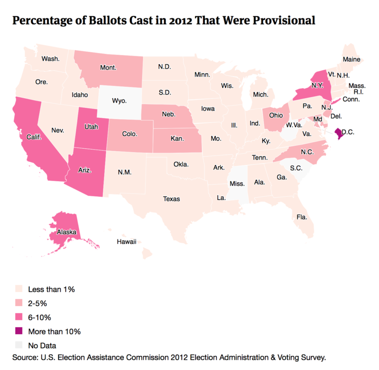 Percentage of Ballots Cast in 2012 That Were Provisional-U.S. map