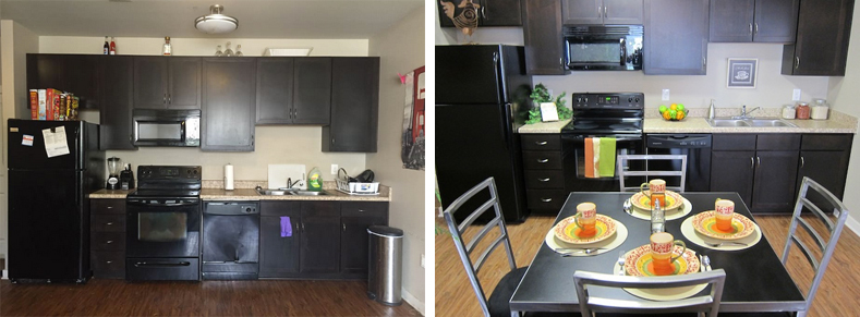 Left: An Airbnb photo shows the kitchen of an apartment listed for $300 a night. Right: A kitchen in The Muses Apartments, located in Central City.