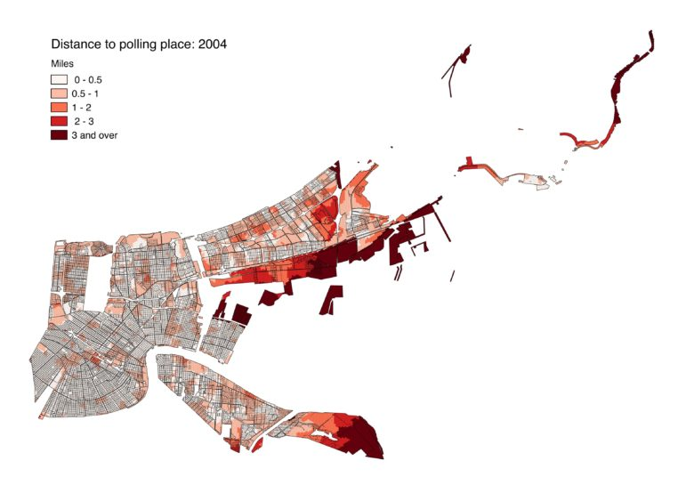 This image shows average distances to polling locations throughout the city in 2004. Unpopulated areas, such as the wetlands in eastern New Orleans, City Park and Audubon Park, have been removed so they don't distort the analysis.