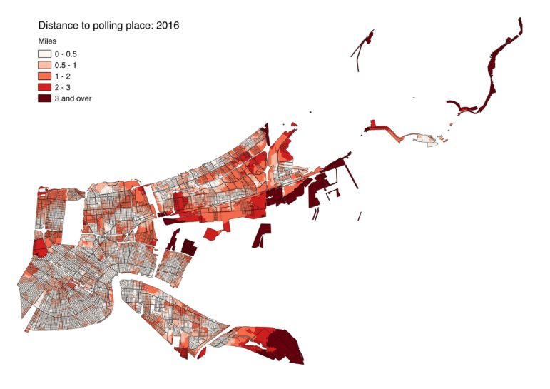 This image shows average distances to polling locations throughout the city in 2016. Unpopulated areas, such as the wetlands in eastern New Orleans, City Park and Audubon Park, have been removed so they don't distort the analysis.