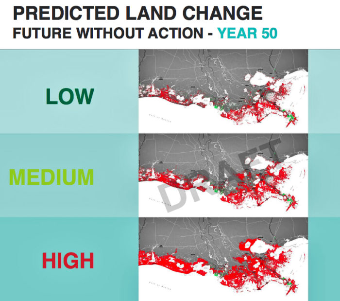 This image, from a draft of Louisiana's 2017 Coastal Master Plan, estimates the total coastal land loss in three emissions scenarios if the state were to take no action to rebuild the coast. Higher emissions cause greater land loss because the atmosphere would warm more quickly, glaciers and ice fields would melt, and the Gulf would rise more rapidly.