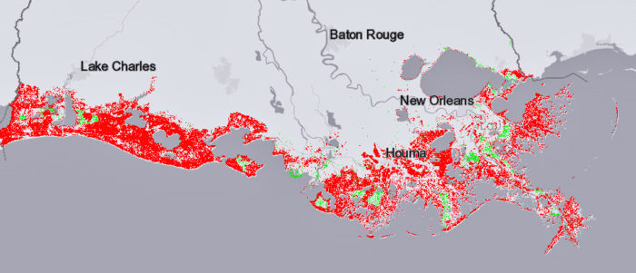 Under this scenario — if greenhouse gases are not lowered, but the state accomplishes its coastal restoration goals — more land would be lost in 50 years.