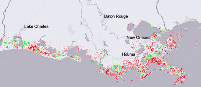 Red shows where land would be lost and green shows where it would be gained in 50 years if greenhouse gas emissions are lowered and the plan accomplishes its goals.