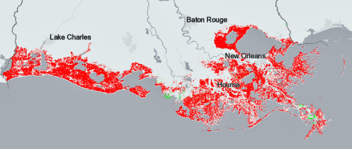 This is the worst of the state's projections, showing widespread land loss. This is what would happen if greenhouse gas emissions are not lowered, causing relatively high sea level rise, and the state does nothing more to rebuild and protect the coast.
