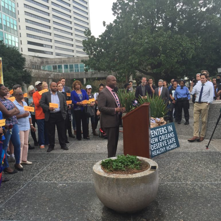 Councilman Jason Williams address a rally in front of City Hall before he and others on a City Council committee heard more than three hours of discussion on a proposed rental registry