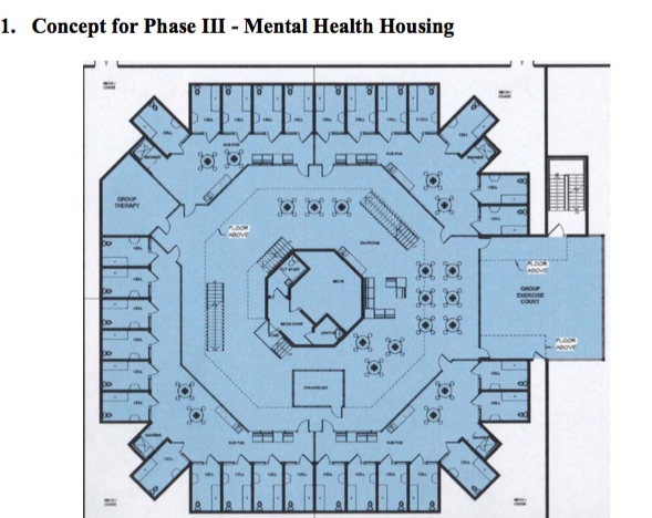 This drawing shows the layout of the proposed new building at the jail, which would have 89 beds for inmates who require intensive mental-health and medical care.