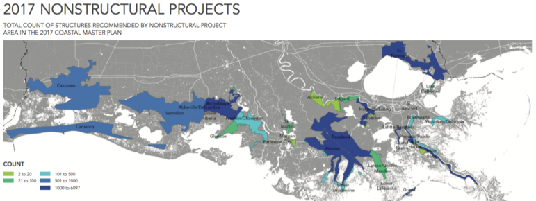 For the first time, the state has identified areas along the coast where as many as 26,000 structures would have to be floodproofed, elevated or bought out due to flooding from storm surges. In most cases, buildings would be elevated, but about 2,400 would be eligible for voluntary buyouts. The colors indicate the number of structures in each area that would be eligible.