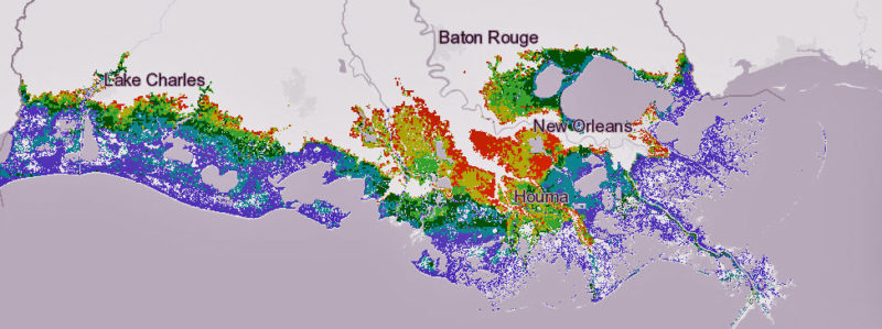 This map shows the flood risk under the state's scenario if greenhouse gas emissions continue to increase, causing sea levels to rise more. Purple areas would see at least 16 feet of flooding in a 100-year storm; teal would have 13 to 15 feet; dark green would have 10 to 12 feet; light green would have 7 to 9 feet; yellow would see 4 to 6 feet; orange would see 1 to 3 feet.