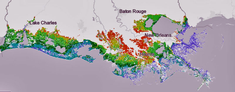 This map shows the flood risk under the state's scenario if greenhouse gas emissions are held to a relatively low level. Purple areas would see at least 16 feet of flooding in a 100-year storm; teal would have 13 to 15 feet; dark green would have 10 to 12 feet; light green would have 7 to 9 feet; yellow would see 4 to 6 feet; orange would see 1 to 3 feet.