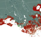If the state does nothing more to restore the coast, the areas in red would become open water by 2061, according to projections by the Coastal Protection and Restoration Authority.