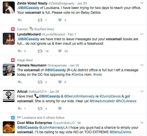 Some people used Twitter to express their frustration over not being able to reach their senators.