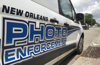 A mobile traffic camera vehicle was parked on Earhart Boulevard on Wednesday 2017 to enforce the 35 mph speed limit. The city says safety is the reason it's expanding the traffic camera program, but it has no evidence the cameras reduce wrecks or injuries.