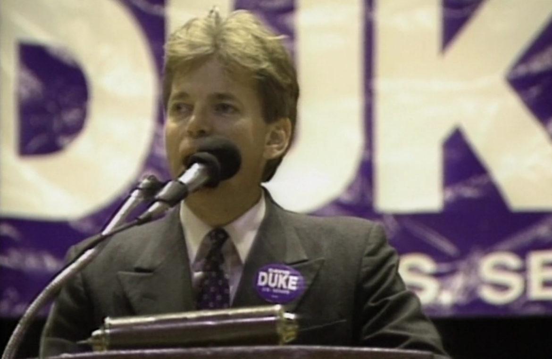 Ex-Klansman and Nazi David Duke rallies a crowd during his 1990 Senate run.