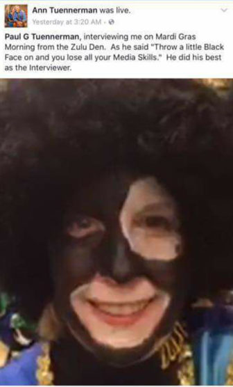 Ann Tuennerman removed the Facebook shot of herself in Zulu blackface after the posting stirred up a fuss.