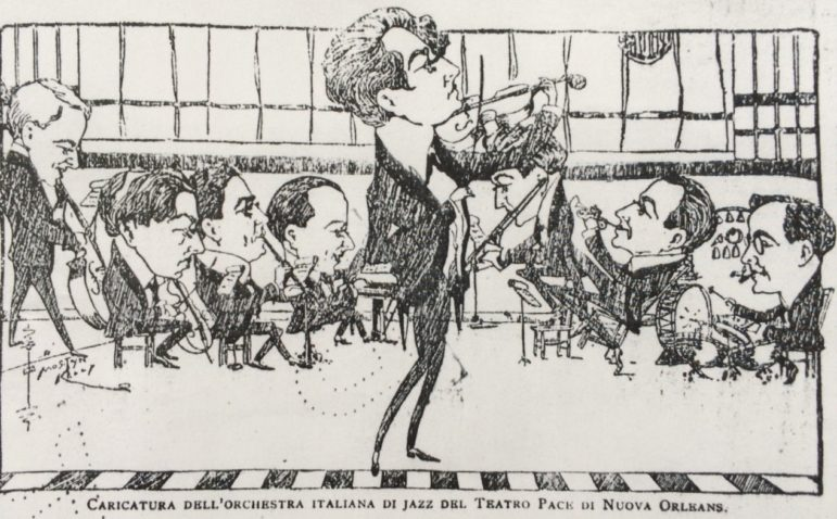 Bruno Zuculin, a diplomat and music buff, included this caricature of a local Italian jazz orchestra in a 1919 article about the New Orleans scene.