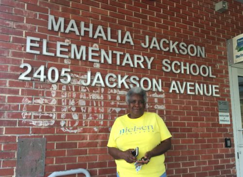 Marie Thompson volunteers at Mahalia Jackson Elementary School, which her two grandchildren attend. She was shocked to learn the superintendent wants to close the school. That action has been delayed for now.