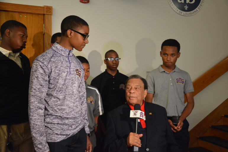 Ambassador Andrew Young speaks with students from St. Augustine High School.